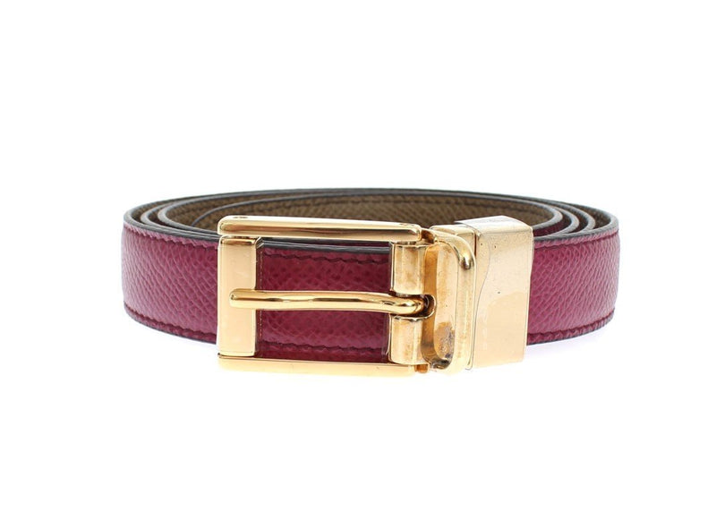 Pink Khaki Leather Reversible Waist Belt