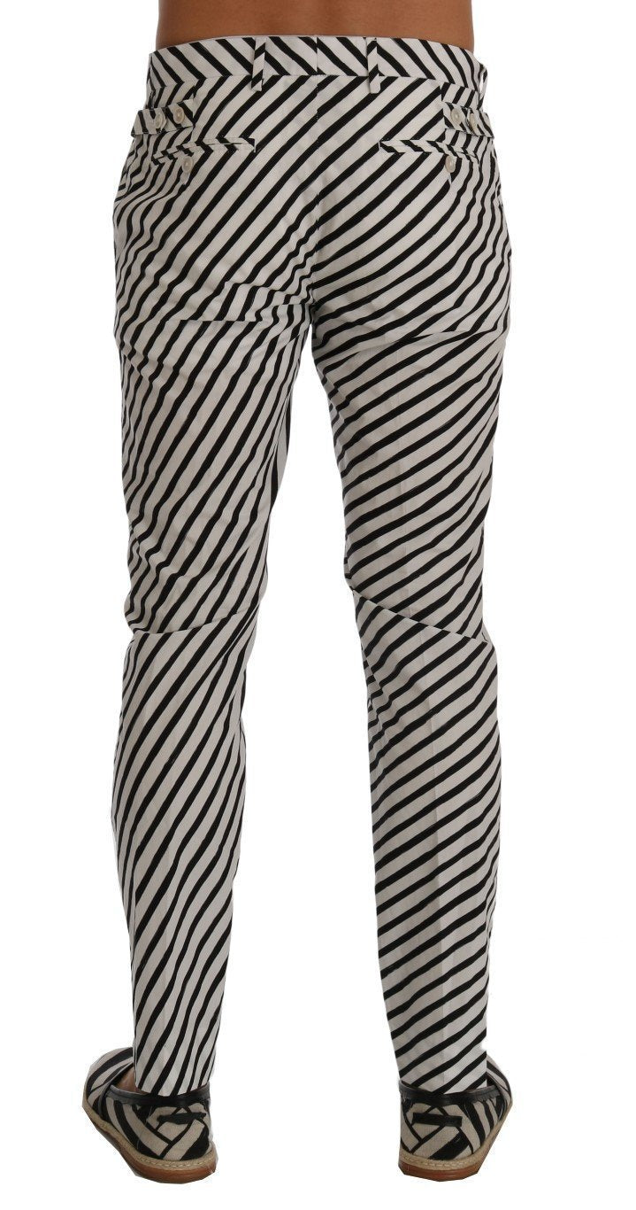White Black Striped Cotton Slim Fit Pants