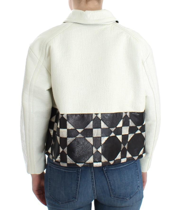 White Black Cropped Leather Jacket