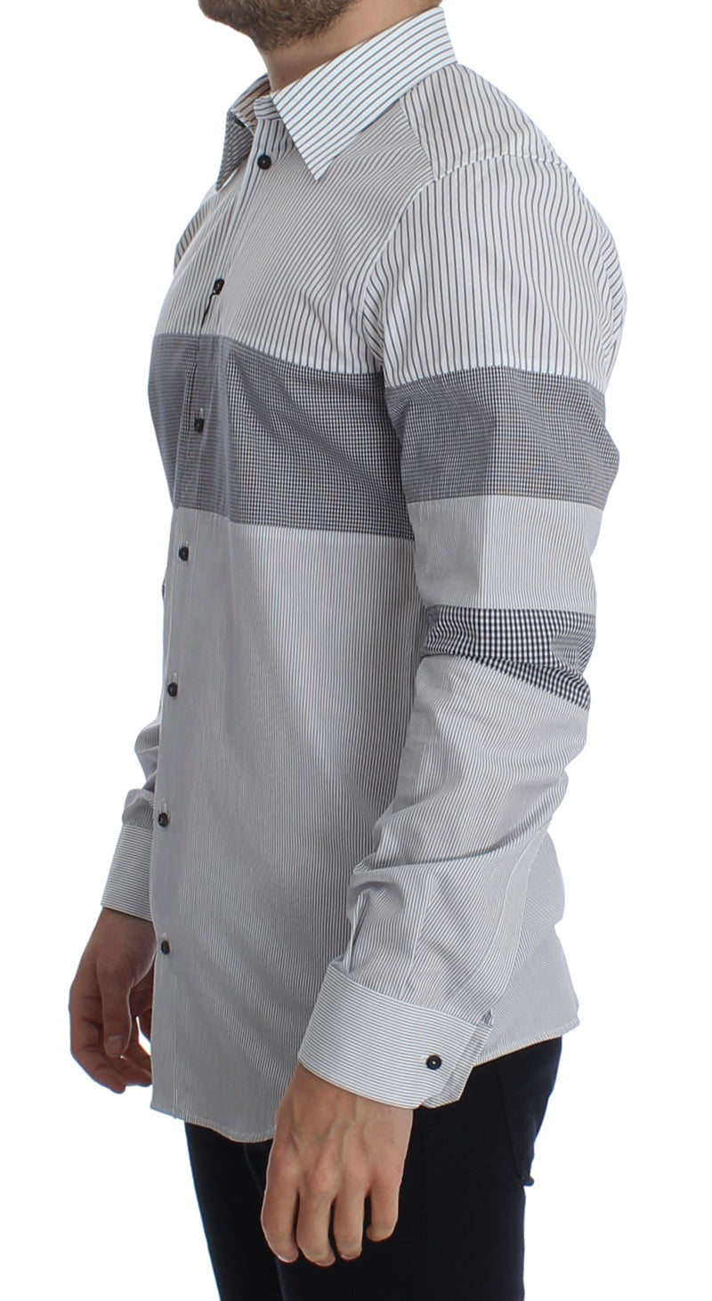 White Blue Striped GOLD Slim Fit Casual Shirt