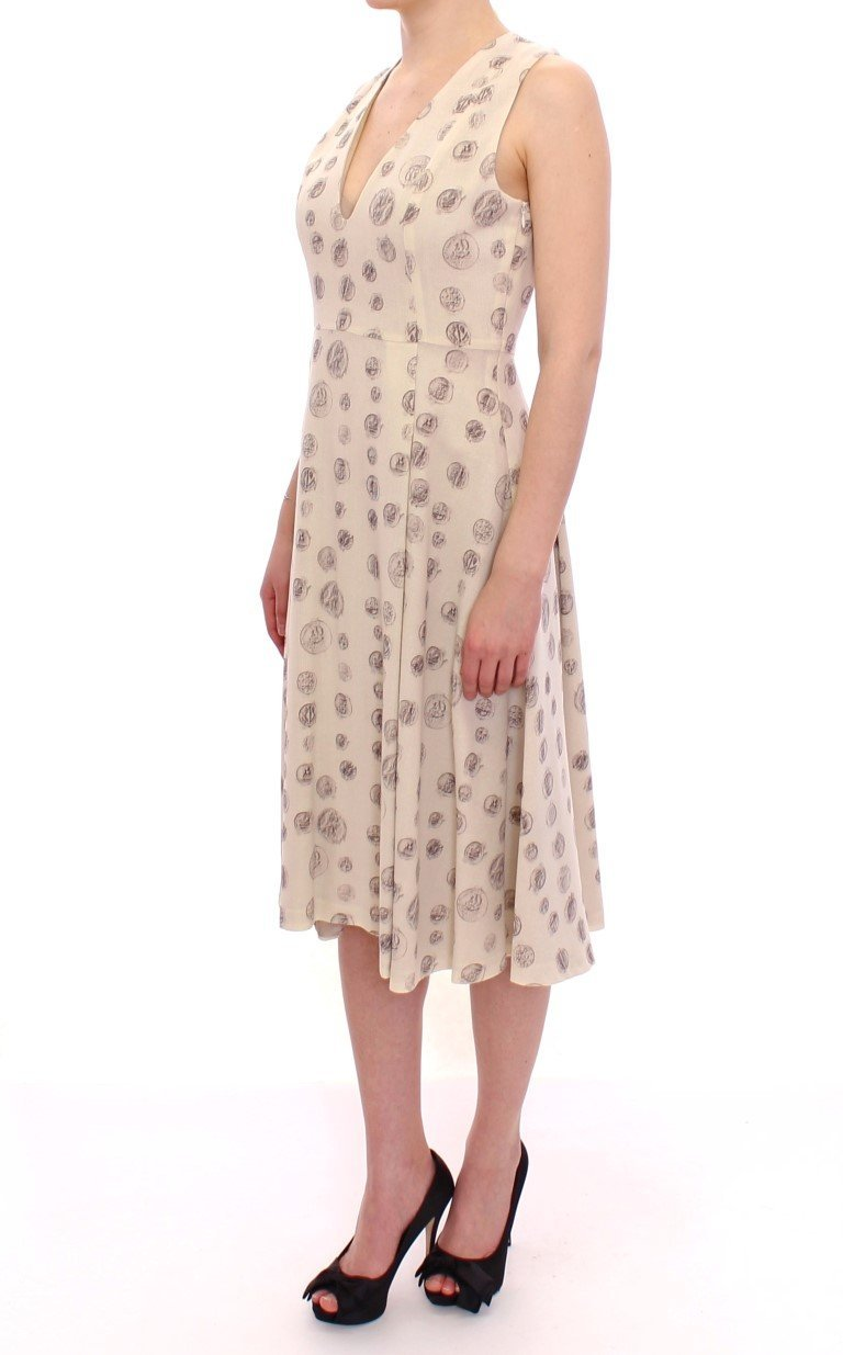 White Printed Shift V-neck Sheath Dress