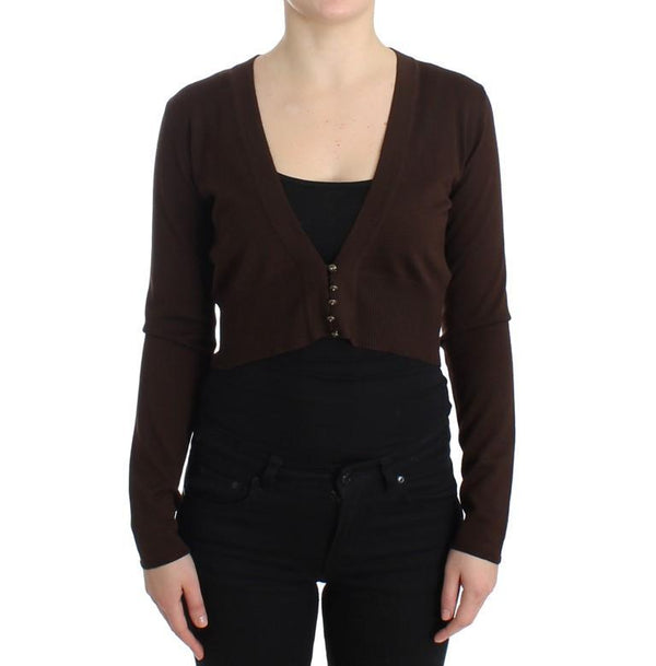 Brown cropped wool cardigan