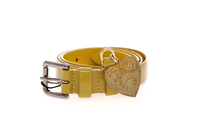 Yellow Leather Heart Logo Belt