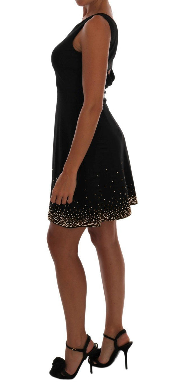 Black Gold Shift Mini Sheath Dress