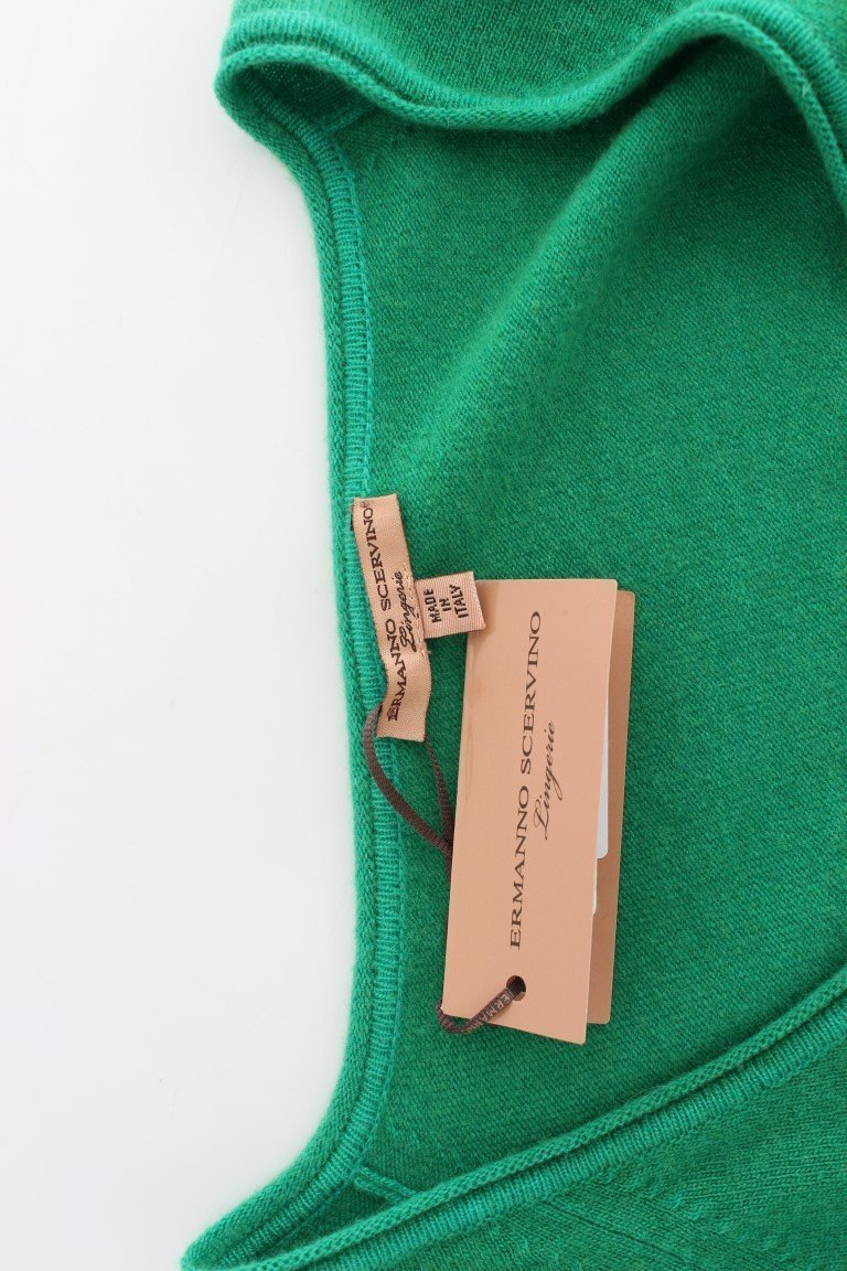 Green Cashmere Cardigan Sweater