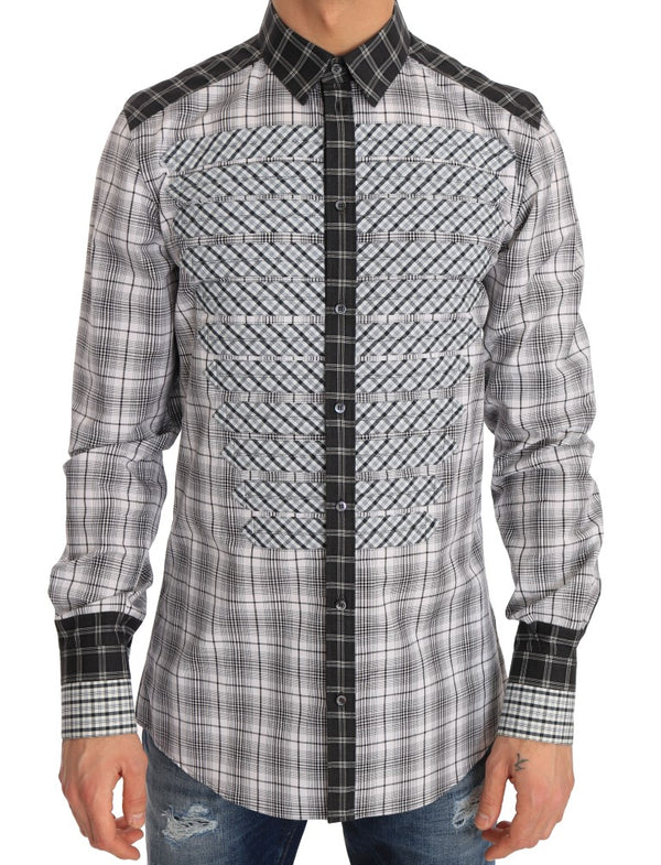 Gray Check Cotton GOLD Slim Fit Shirt