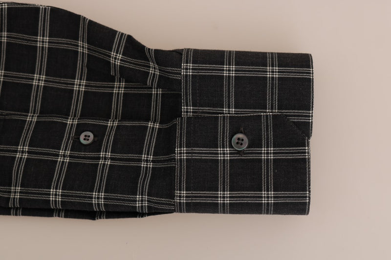Green Checkered Cotton Slim Fit Shirt