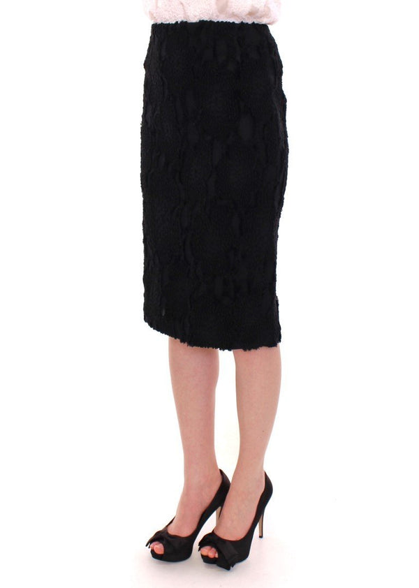 Black Silk Straight Knee-length Pencil Skirt
