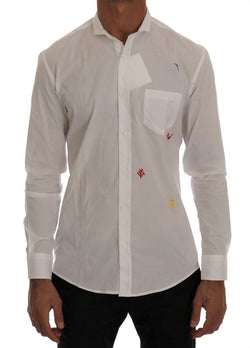 White Cotton Embroidered Casual Shirt