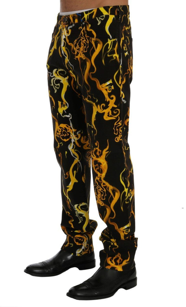 Black Yellow Tiger Print Regular Fit Jeans