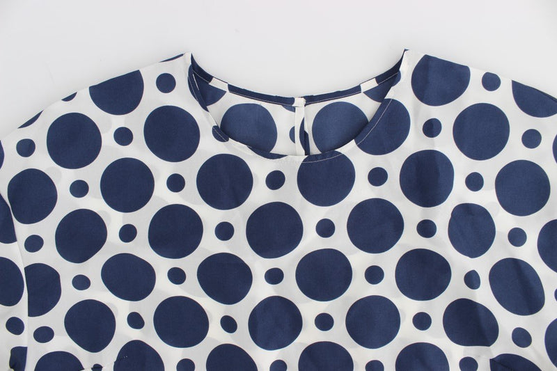 Blue Polka Dotted Silk Top Blouse