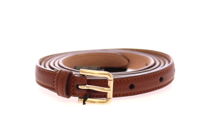 Brown Leather Skinny Belt