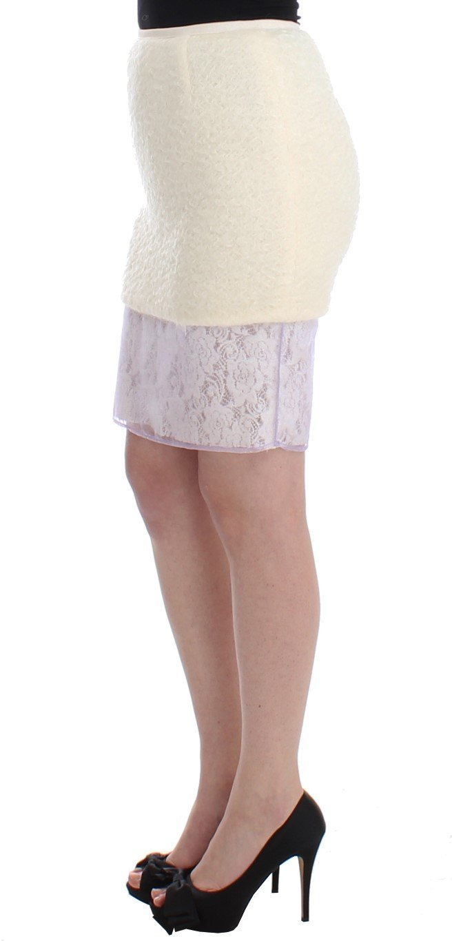 White Pencil Lace Skirt