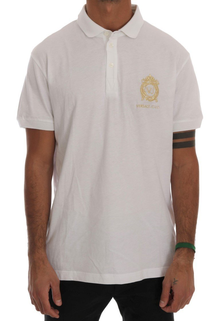 White Cotton Short Sleeve Polo T-Shirt