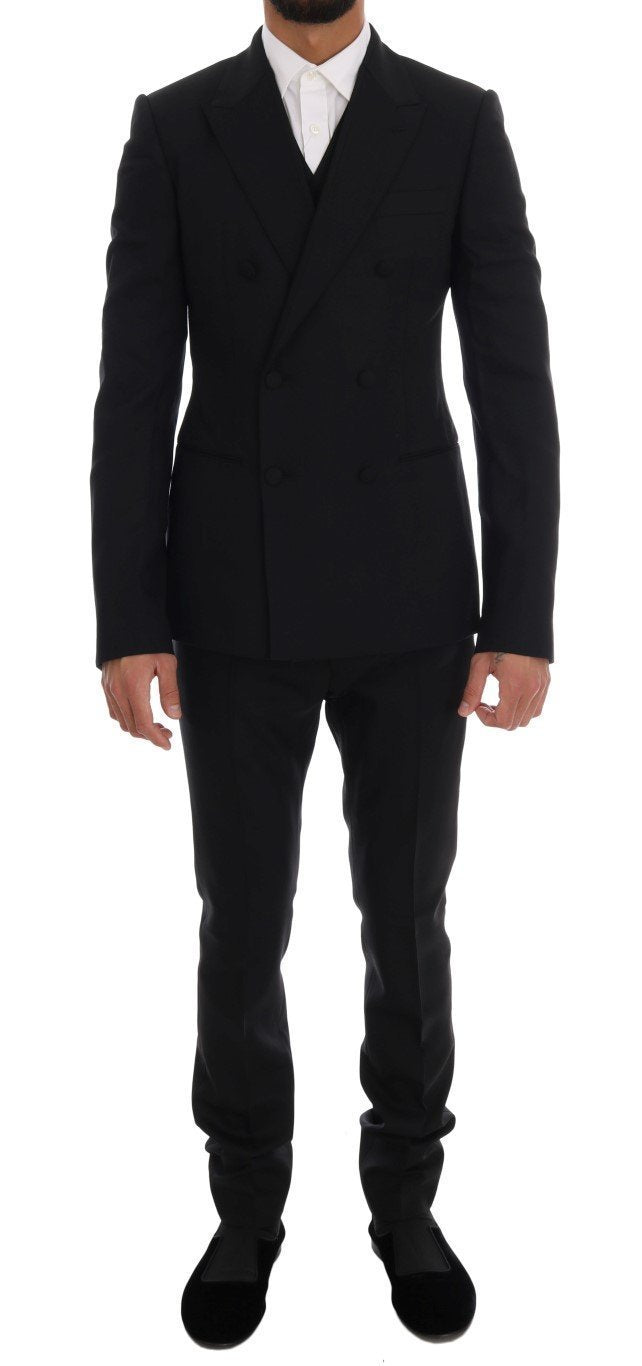 Black Wool Stretch Double Breasted Suit