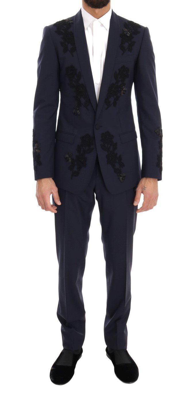 Blue Crystal Bee Roses Wool Stretch Suit