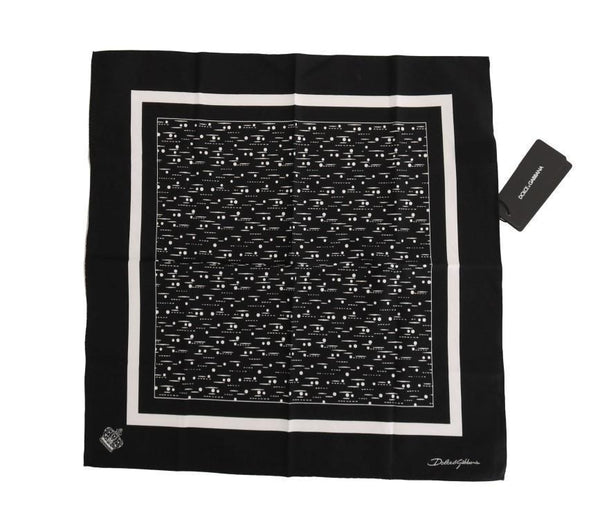 Black Cotton White Pattern Scarf