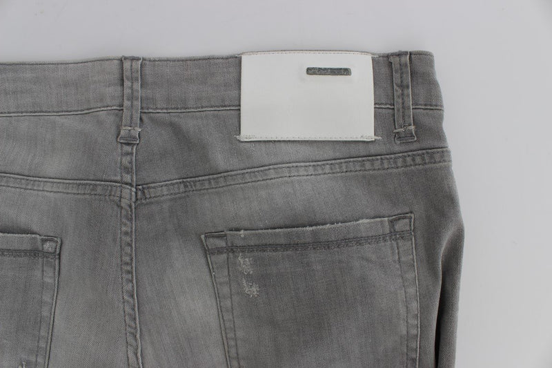 Gray Wash Denim Cotton Stretch Slim Fit Jeans
