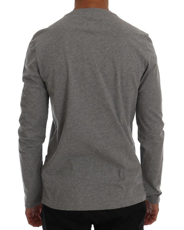 Gray Cotton Crewneck Print Slim Fit Sweater