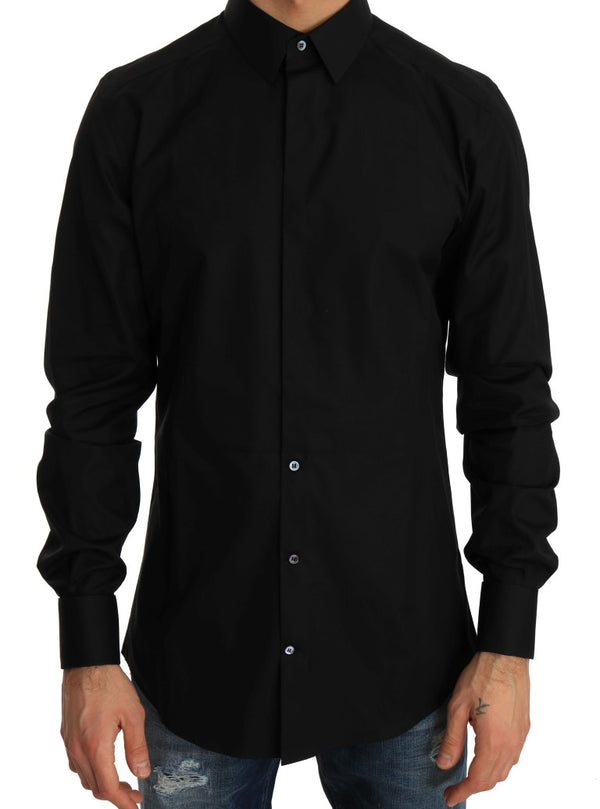 Black Formal Slim Fit Cotton Shirt