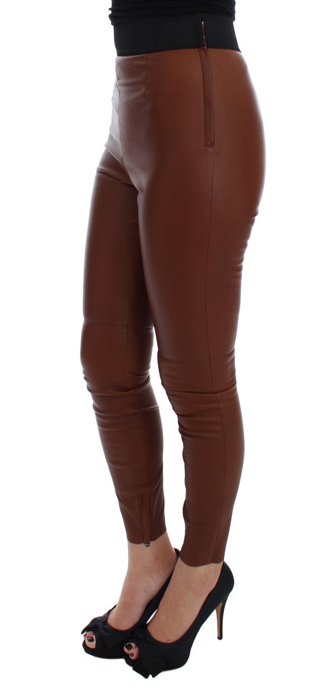 Brown Leather Stretch Slim Fit Pants