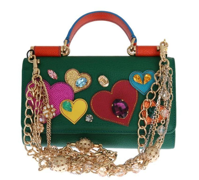Green Sicily VON Leather Crystal Heart Bag
