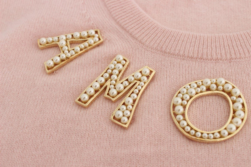 Pink Cashmere AMORE Pearls Gold Sweater