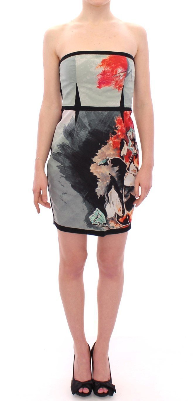 Multicolor Strapless Silk Floral Bubble Mini Shift Dress