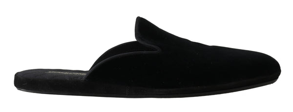 Black Velvet Suede Slides Slippers