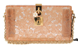 Pink Taormina Lace Crystal Clutch Bag