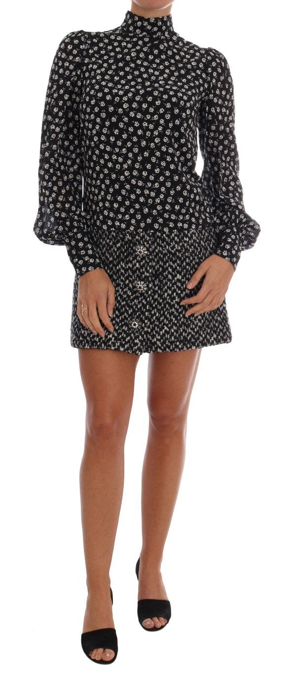 Black White Floral Print Crystal Dress