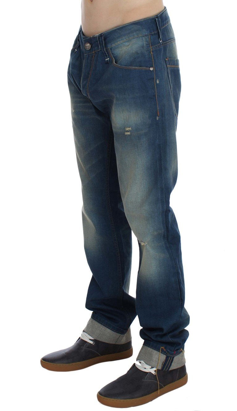 Blue Wash Denim Cotton Stretch Baggy Fit Jeans