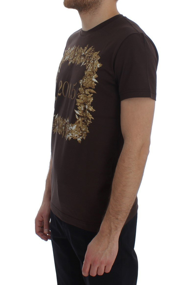 Crewneck 2015 Motive Print Brown Cotton T-shirt
