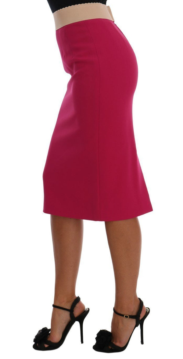 Pink Knee Length Pencil Skirt