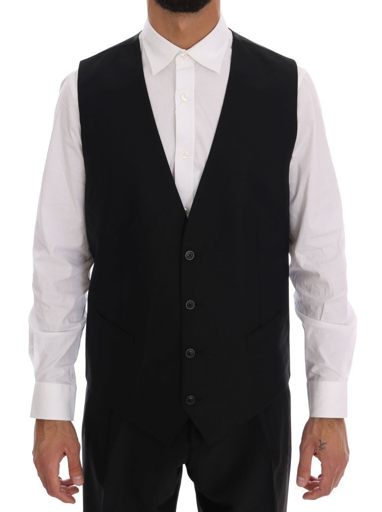 Black Wool Silk One Button Slim Fit Suit
