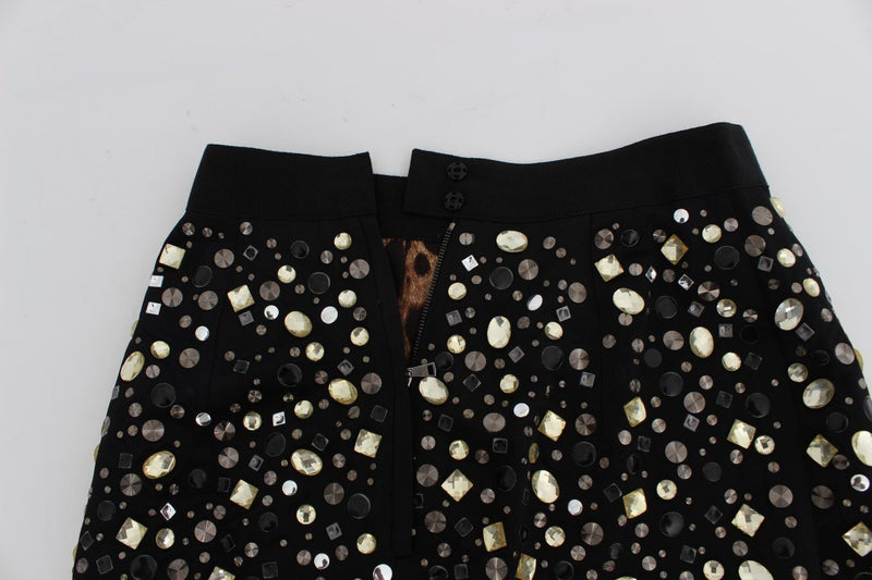 Black Embellished High Waist Pencil Skirt