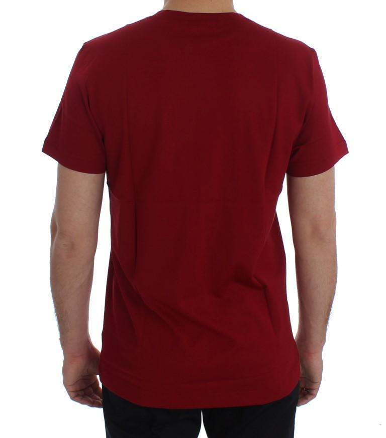 Crewneck 2015 Motive Print Red Cotton T-shirt