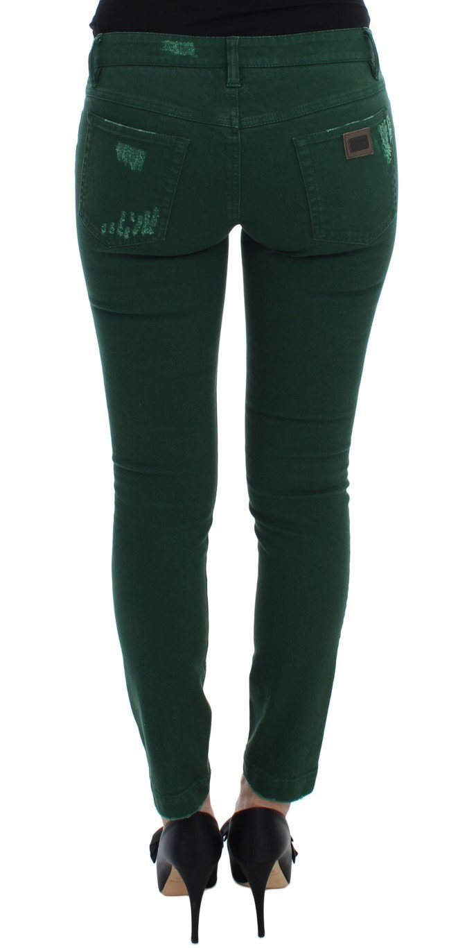 Green Torn Cotton Stretch Slim Fit Jeans
