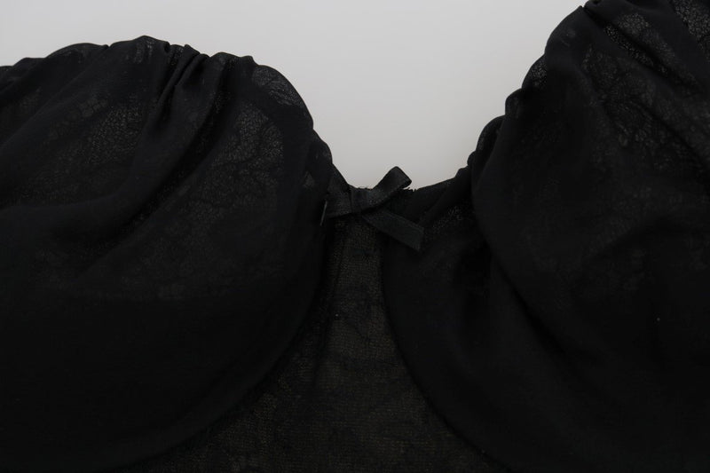 Black Silk Lace Bra Underwear