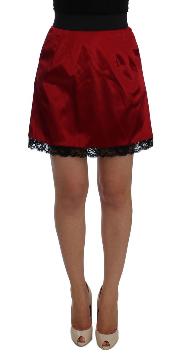 Red Black Lace A-Line Above Knee Skirt