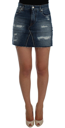 Blue Cotton Denim Mini Skirt