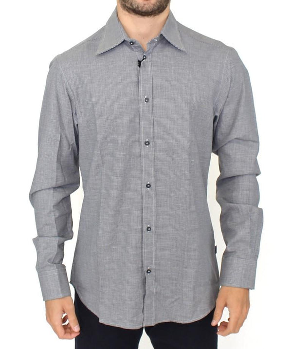 Gray checkered cotton button shirt