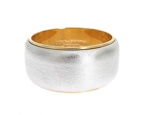Silver Leather Gold Brass Bracelet