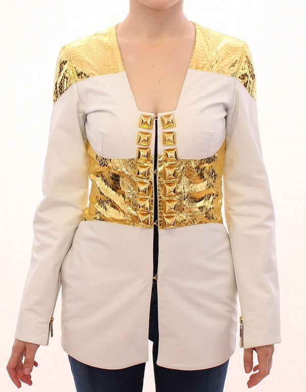 White Gold Metallic Leather Jacket