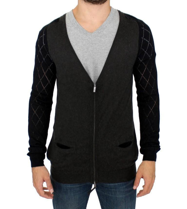 Gray zipper cardigan sweater