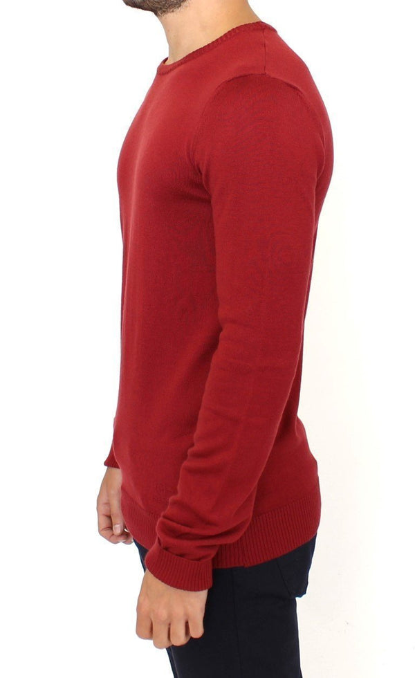 Red Knitted Wool Blend Pullover Sweater