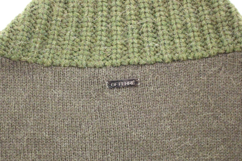 Green Knitted Wool V-neck Pullover Sweater