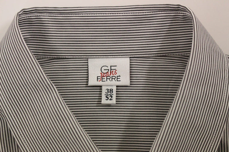 Gray Striped Cotton Casual Shirt