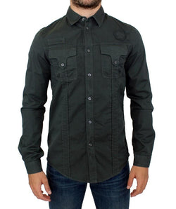 Green Button Front Cotton Casual Shirt