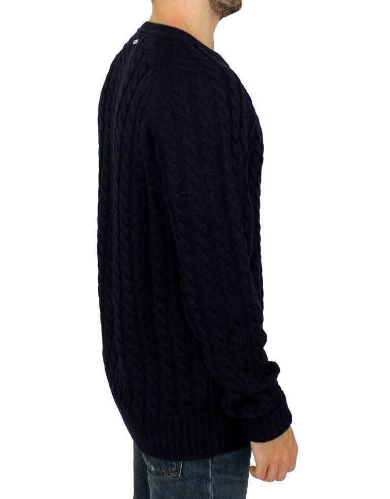 Blue Wool Knitted SLIM FIT Pullover Sweater